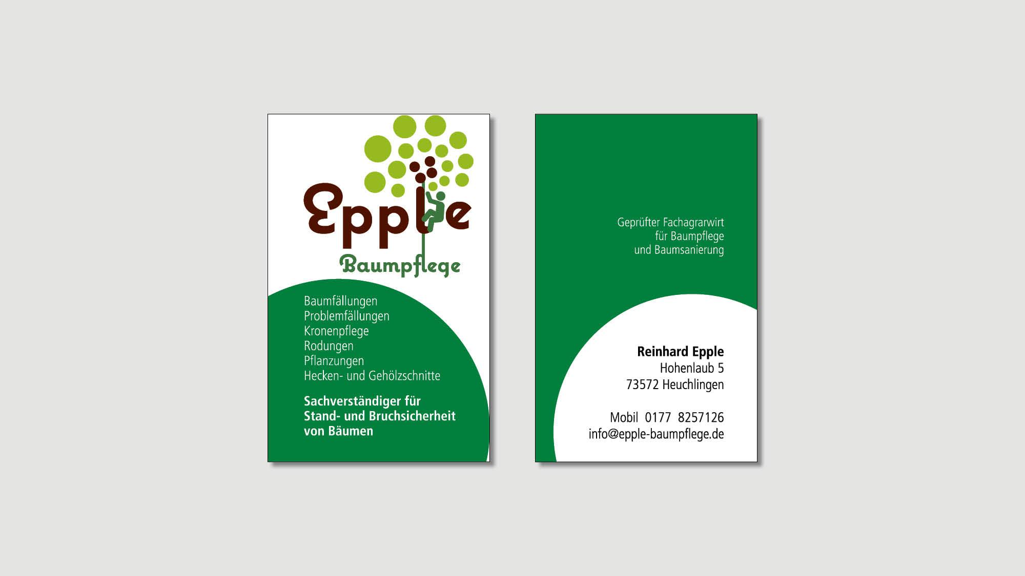 Epple Baumpflege - Heuchlingen - Visitenkarte - Print - 2019